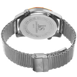 Joshua Sons Men's dual time silver mesh bracelet watch JX112RGBU - Thumbnail