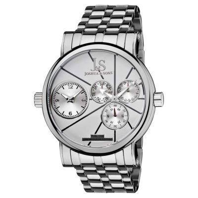 Joshua & Sons - Joshua Sons Men's Dual-time Stainless Steel Quartz Watch JS-35-SS