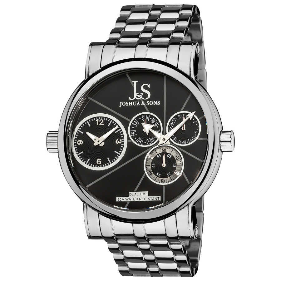Joshua Sons Men's Dual Time Stainless Steel Watch JS-35-BK