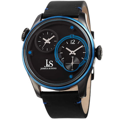 Joshua & Sons - Joshua Sons Men's Dual Time Zone Genuine Leather Strap Watch JX118BKBU