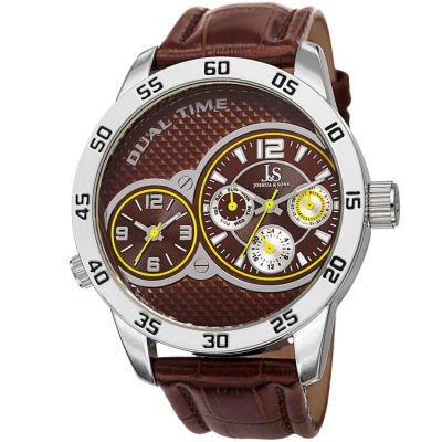 Joshua & Sons - Joshua Sons Men's Japanese Quartz Dual-Time Multifunction Leather Strap Watch JS97BR