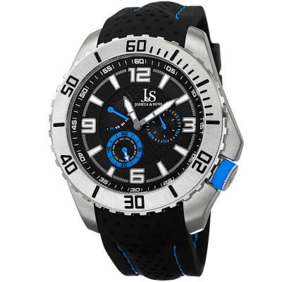 Joshua & Sons - Joshua Sons Men's Japanese Quartz Easy-to Read Multifunction Silicone Strap Watch JS53BU