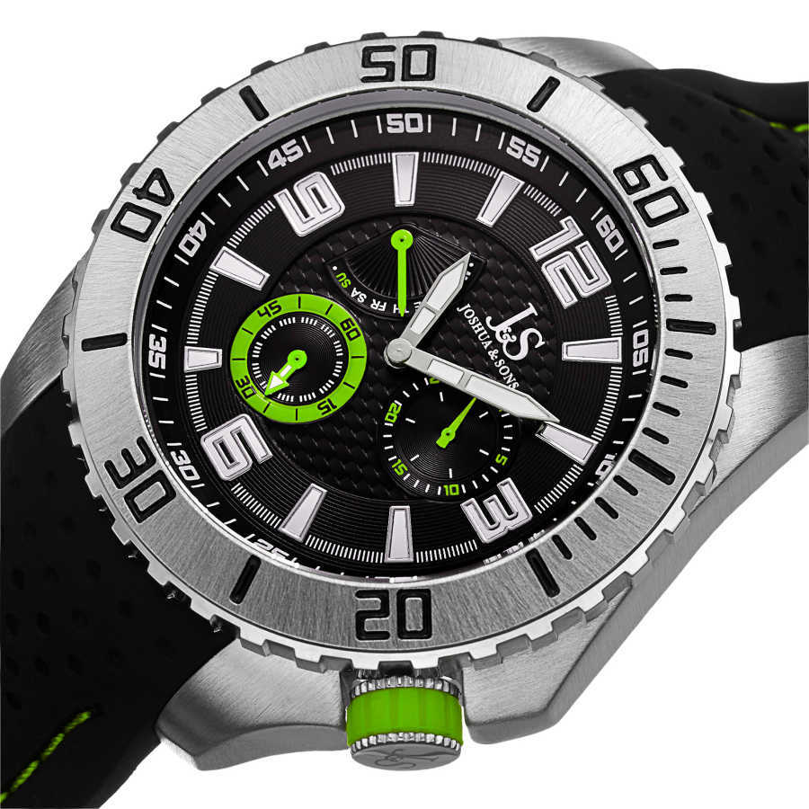 Joshua Sons Men's Japanese Quartz Easy-to Read Multifunction Silicone Strap Watch JS53GN