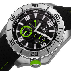Joshua Sons Men's Japanese Quartz Easy-to Read Multifunction Silicone Strap Watch JS53GN - Thumbnail