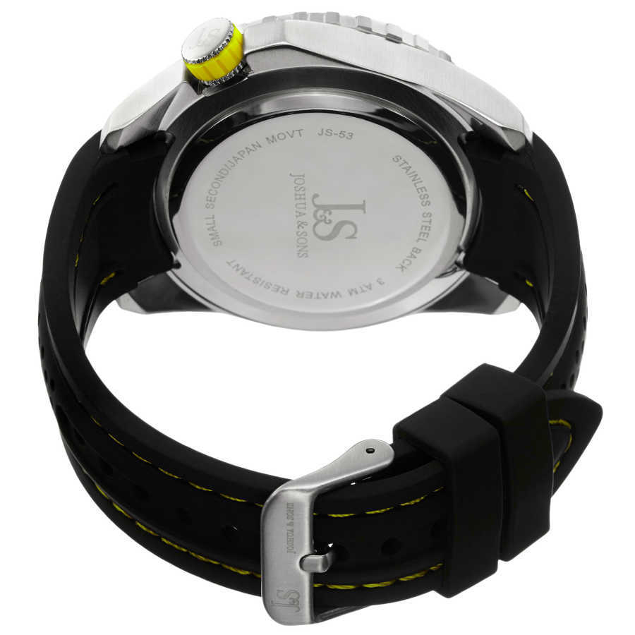 Joshua Sons Men's Japanese Quartz Easy-to Read Multifunction Silicone Strap Watch JS53YL