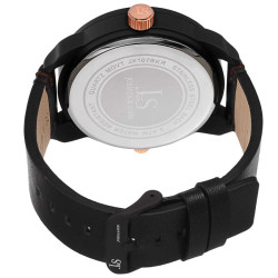 Joshua Sons Men's Japanese Quartz Multifunction Dual Time Leather Strap Watch JX107BKR - Thumbnail