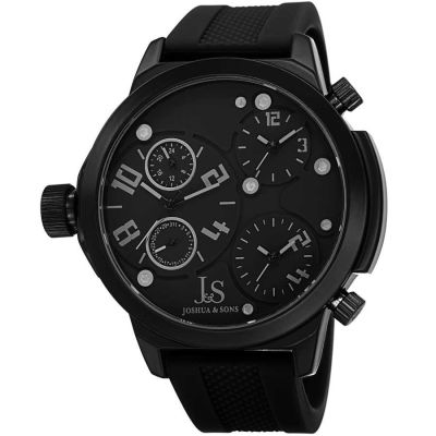 Joshua & Sons - Joshua Sons Men's Japanese Quartz Triple Time Zone Rubber Strap Watch JS-40-BK