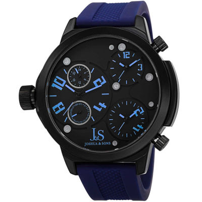 Joshua & Sons - Joshua Sons Men's Japanese Quartz Triple Time-Zone Rubber Strap Watch JS-40-BU