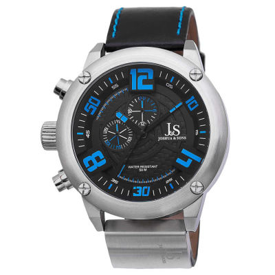 Joshua & Sons - Joshua Sons Men's Multifunction Double-Layered Dial Leather Strap Watch JS70BU