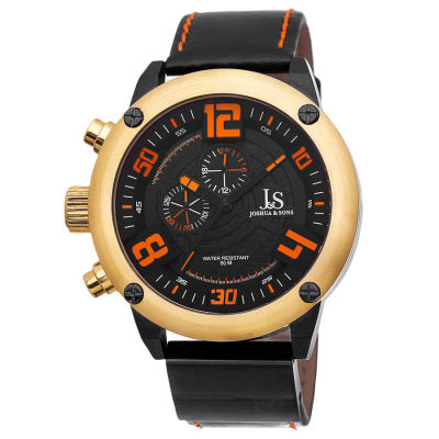 Joshua & Sons - Joshua Sons Men's Multifunction Double-Layered Dial Leather Strap Watch JS70YG