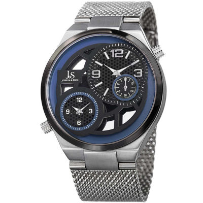 Joshua & Sons - Joshua Sons Men's Multifunction Stainless Steel Mesh Quartz Bracelet Watch JX111SSBU
