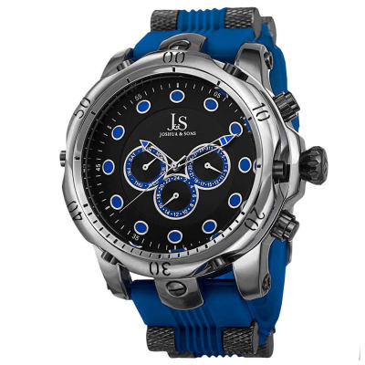 Joshua & Sons - Joshua Sons Men's Multifunction Swiss Quartz Rubber Strap Watch JS71BU