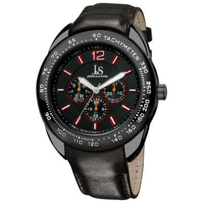 Joshua & Sons - Joshua & Sons Men's Multifunction Tachymeter Black-Bezel Leather-Strap Watch
