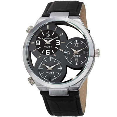 Joshua & Sons - Joshua Sons Men's Skeleton Triple Time Zone Genuine Leather Strap Watch JX119GY