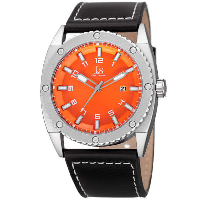 Joshua & Sons - Joshua Sons Men's Solid Steel Case Genuine Leather Strap Watch JX120OR