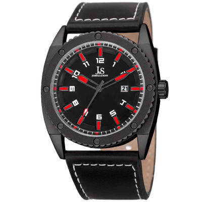Joshua & Sons - Joshua Sons Men's Solid Steel Case Genuine Leather Strap Watch JX120RD