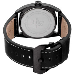 Joshua Sons Men's Solid Steel Case Genuine Leather Strap Watch JX120RD - Thumbnail