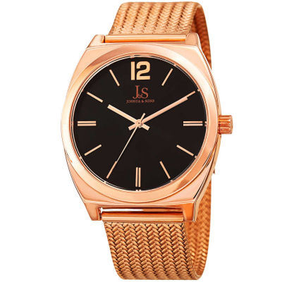 Joshua & Sons - Joshua Sons Men's Sunray Dial Mesh Bracelet Watch JX124RG