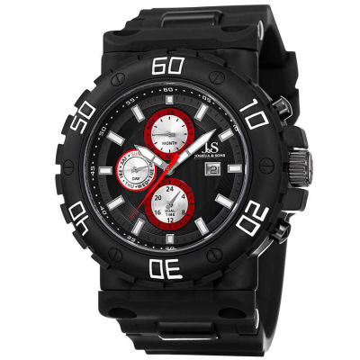 Joshua & Sons - Joshua Sons Men's Swiss Quartz Multifunction Dual-Time Silicone Strap Watch JS89BKW
