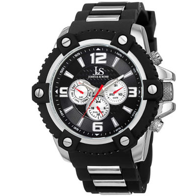 Joshua & Sons - Joshua Sons Men's Swiss Quartz Multifunction Dual-Time Sunray Dial Silicone Strap Watch JS94SSB