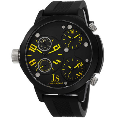 Joshua & Sons - Joshua Sons Quartz Triple Time Zone Black Rubber Strap Watch JS-40-YL