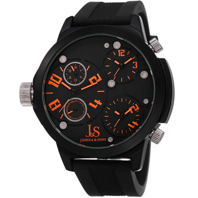 Joshua & Sons - Joshua Sons Quartz Triple Time Zone Rubber Strap Watch JS-40-OR