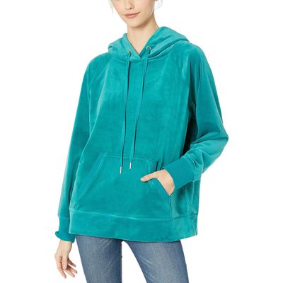 Juicy Couture - Juicy Couture Castle Green Luxe Velour Hooded Pullover