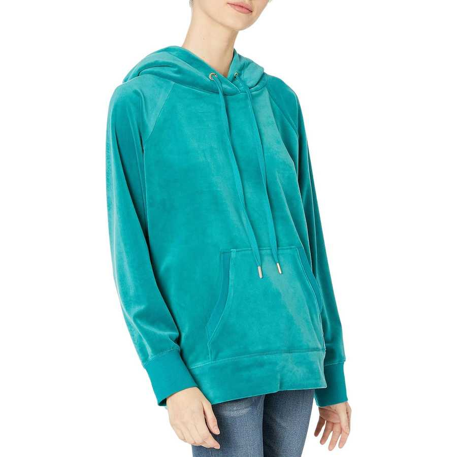 Juicy Couture Castle Green Luxe Velour Hooded Pullover