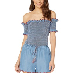 Juicy Couture Chambray Chambray Scallop Embroidered Smocked Romper - Thumbnail