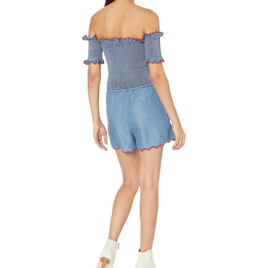 Juicy Couture Chambray Chambray Scallop Embroidered Smocked Romper