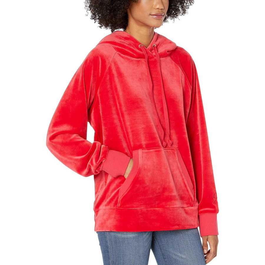 Juicy Couture Cherry Pop Track Luxe Velour Hooded Pullover