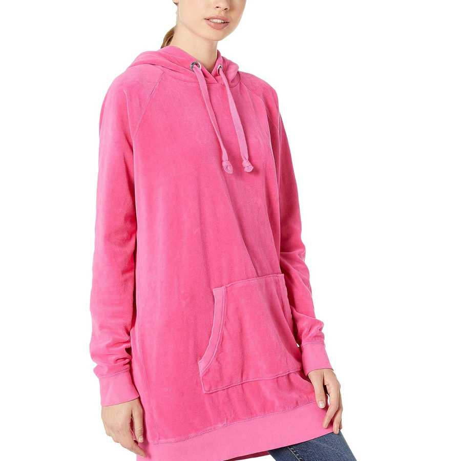Juicy Couture Couture Pink Velour Oversized Boyfriend Hoodie