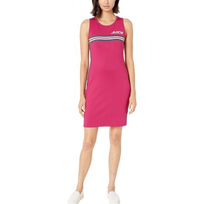 Juicy Couture - Juicy Couture Hibiscus Pink Juicy Stripe Graphic Interlock Bodycon Dress