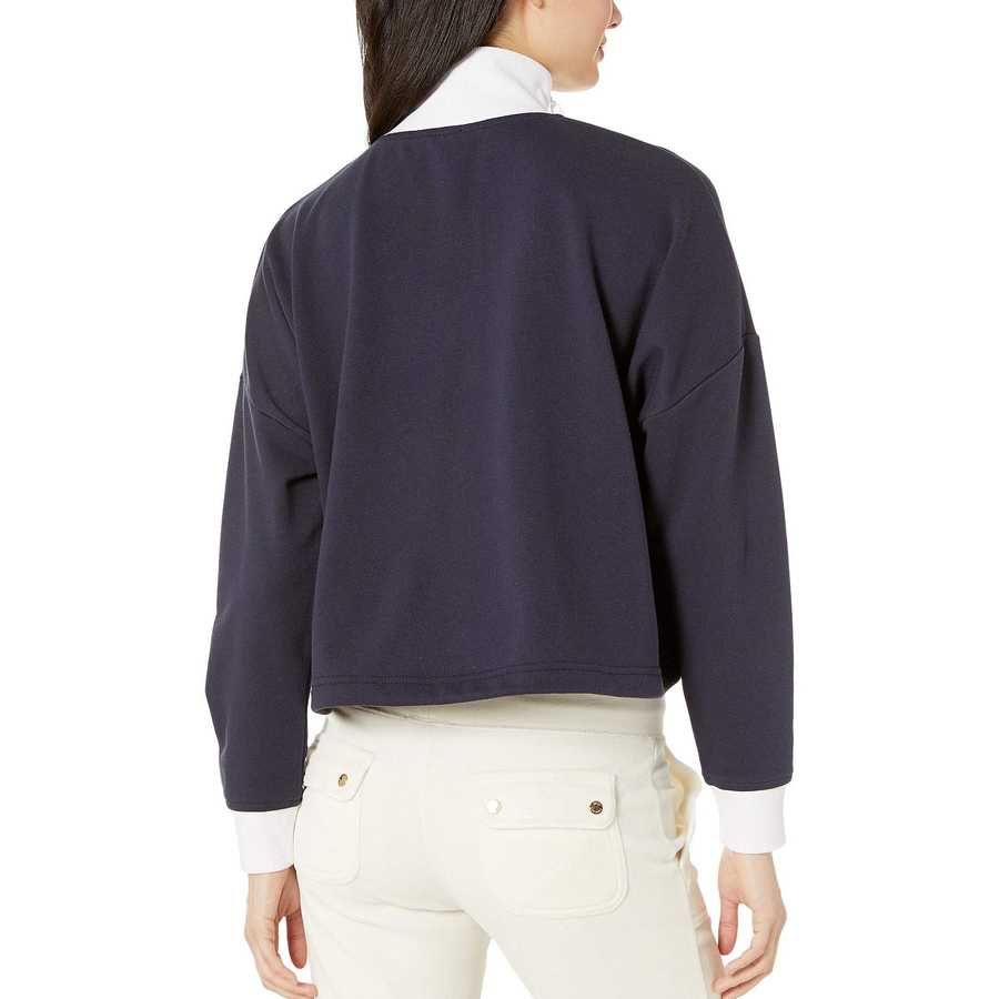 Juicy Couture Midnight Blue Double Zip Crop Pullover
