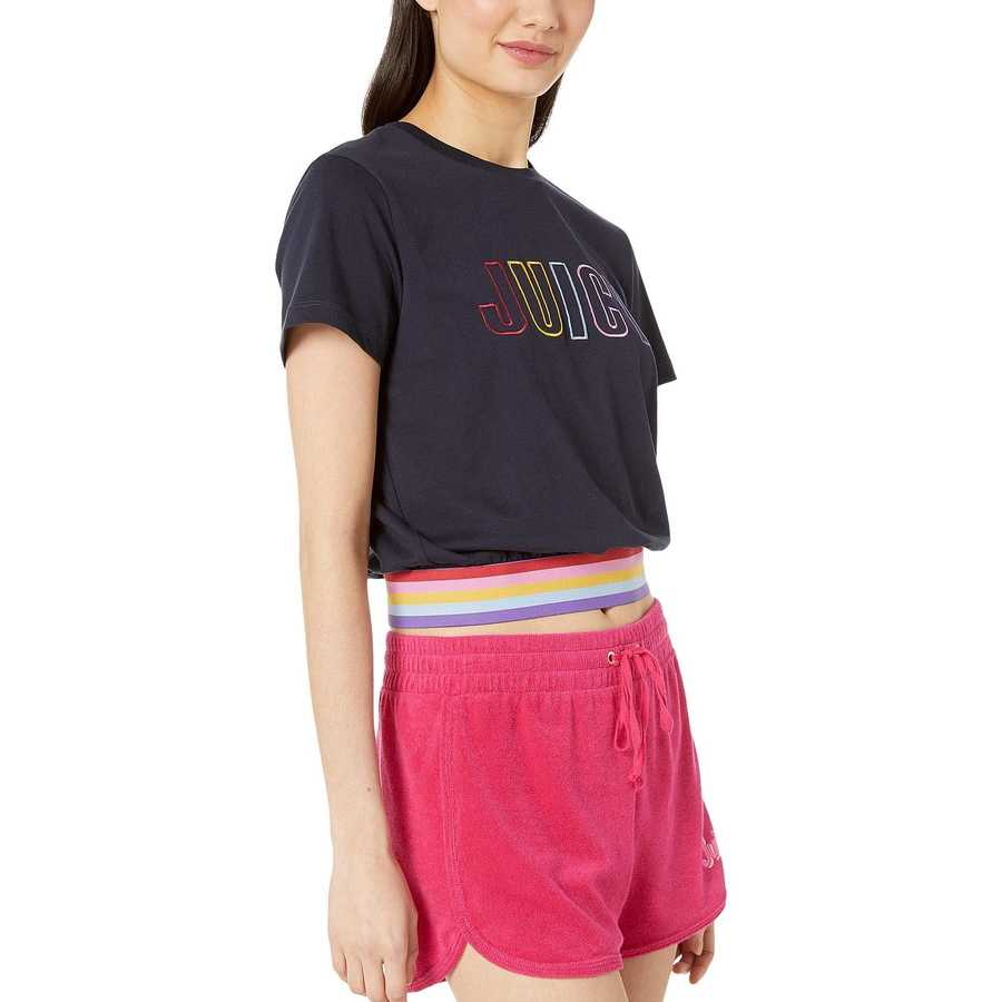 Juicy Couture Midnight Blue Logo Rainbow Graphic Tee