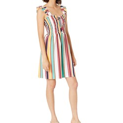 Juicy Couture Multi Maroco Stripe Maroc Stripe Microterry Smocked Dress - Thumbnail