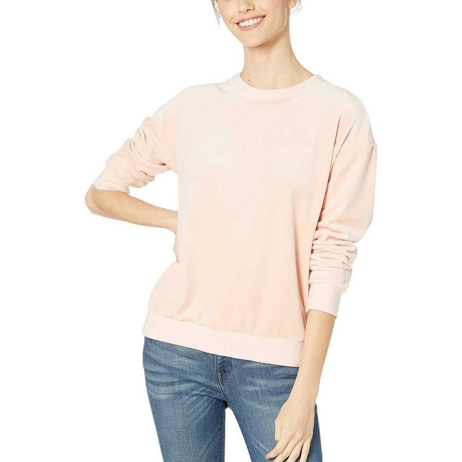 Juicy Couture Pink Shadow Luxe Velour Crew Pullover