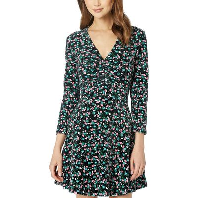 Juicy Couture - Juicy Couture Pitch Black Enchanted Floral Track Stretch Velour Ruched Flirty Dress