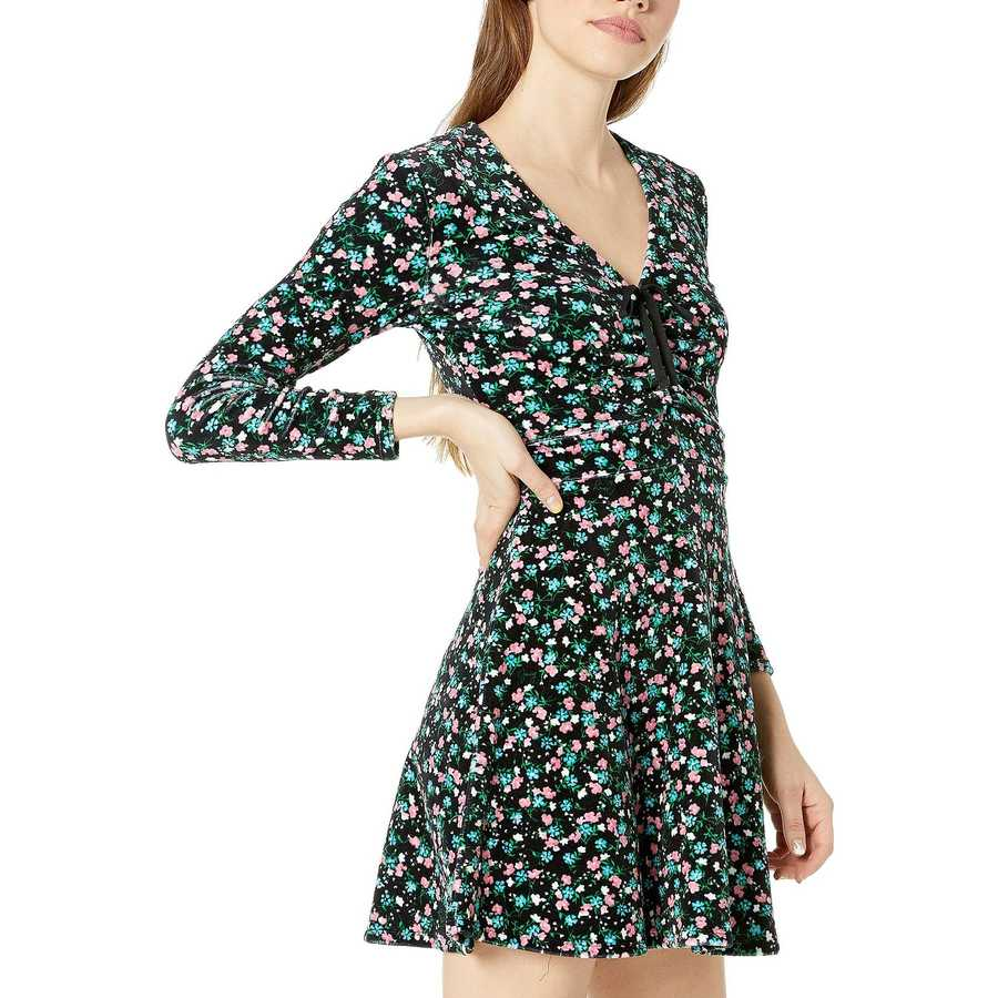 Juicy Couture Pitch Black Enchanted Floral Track Stretch Velour Ruched Flirty Dress