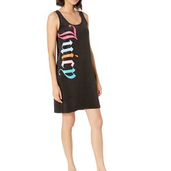 Juicy Couture Pitch Black Gothic Juicy Microterry Logo Track Tank Dress - Thumbnail