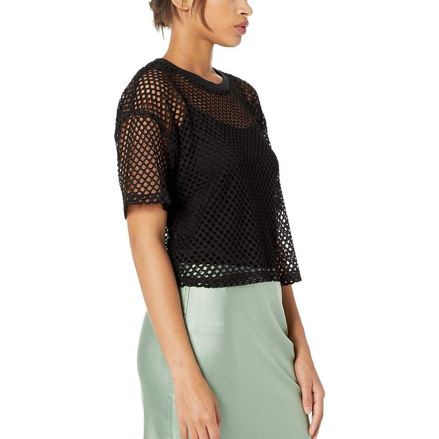 Juicy Couture Pitch Black Mesh Knit Short Sleeve Boxy Tee