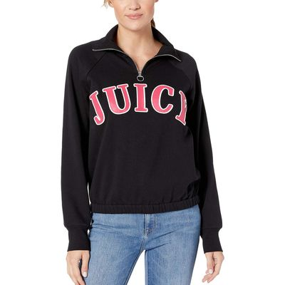 Juicy Couture - Juicy Couture Pitch Black Raglan 1/2 Zip Fleece Pullover