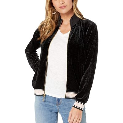 Juicy Couture - Juicy Couture Pitch Black Textured Velvet Pintuck Jacket
