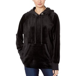 Juicy Couture Pitch Black Track Luxe Velour Hooded Pullover - Thumbnail