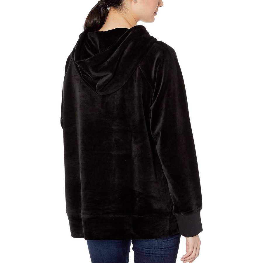 Juicy Couture Pitch Black Track Luxe Velour Hooded Pullover