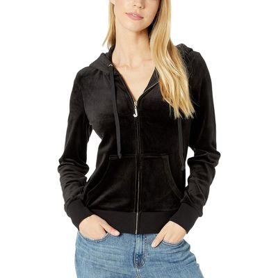 Juicy Couture - Juicy Couture Pitch Black Track Luxe Velour Robertson Jacket W/ Charm Pull