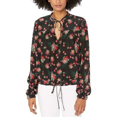 Juicy Couture - Juicy Couture Pitch Black/Faded Floral Faded Floral Silk Top