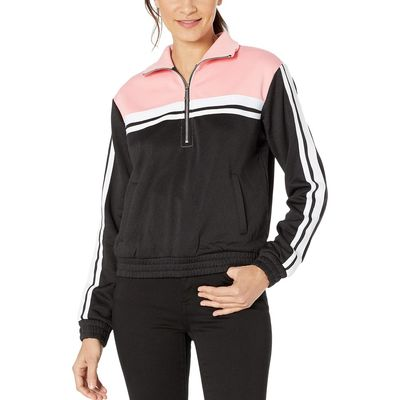 Juicy Couture - Juicy Couture Pitch Black/Sorbet Pink Stripe Tricot 1/2 Zip Track Jacket