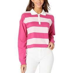 Juicy Couture Pixel Pink Rugby Stripe Long Sleeve Color Block Rugby Tee - Thumbnail