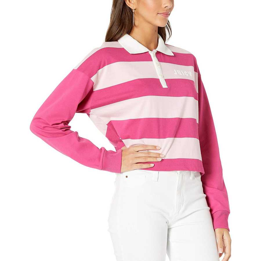 Juicy Couture Pixel Pink Rugby Stripe Long Sleeve Color Block Rugby Tee